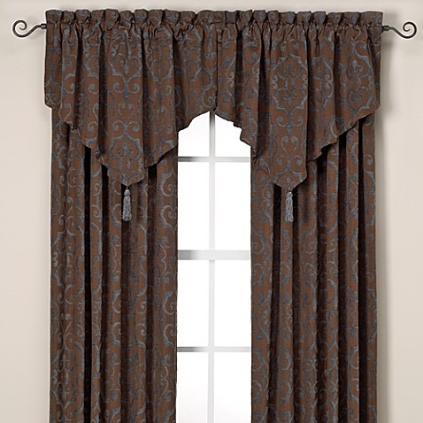 Torino Ascot Valance in Blue/Brown