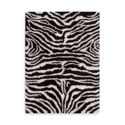 Nourison Splendor Zebra 2-Foot 3-Inch x 3-Foot 9-Inch Accent Rug in Black and White