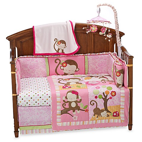 kidsline™ Miss Monkey 4-Piece Crib Bedding