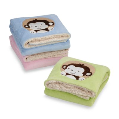 Beansprout® Fleece Blanket with Embroidered Monkey