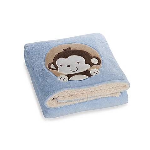 beansprout® Fleece Blanket with Embroidered Monkey in Blue