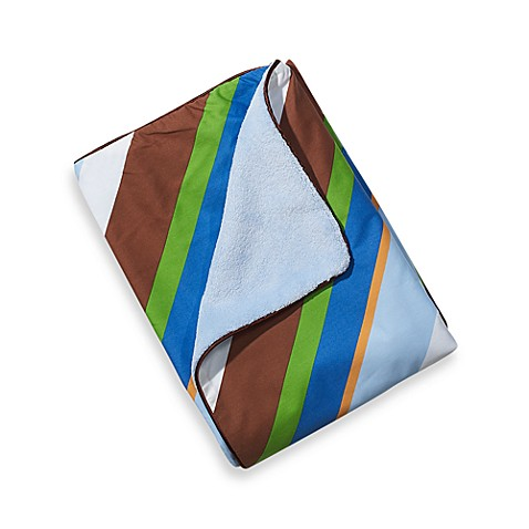 Caden Lane® Boy Blanket with Piped Edging in Blue Stripe