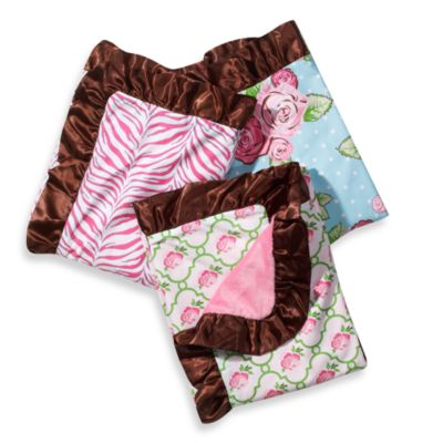 Caden Lane® Girl Blanket with Decorative Trim in Pink/Green Rose