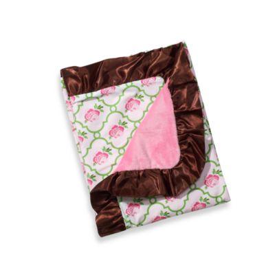 Caden Lane® Girl Blanket with Decorative Trim in Pink/Green Rose
