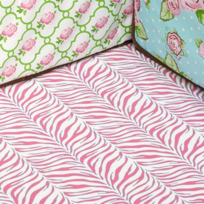Caden Lane® Zebra Fitted Crib Sheet in Pink