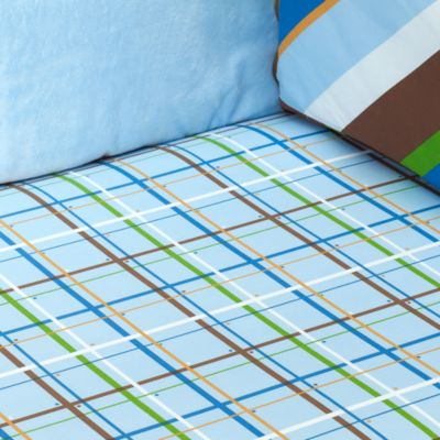 Caden Lane® Plaid Boy Fitted Crib Sheet in Blue Plaid