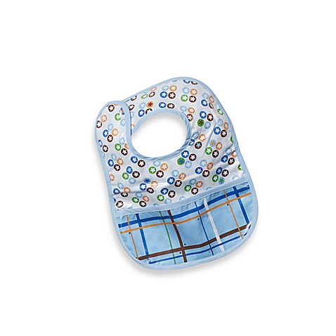 Caden Lane® Star Dot/Plaid Reversible Coated Bib in Blue
