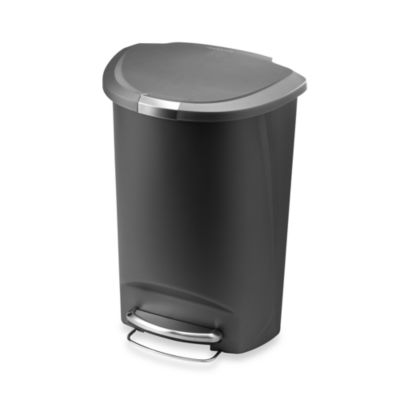 simplehuman® Plastic Semi-Round 50-Liter Step-On Trash Can in Grey