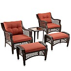 5-Piece Deep Seat Wicker Lounge Set with Cinnamon Cushions