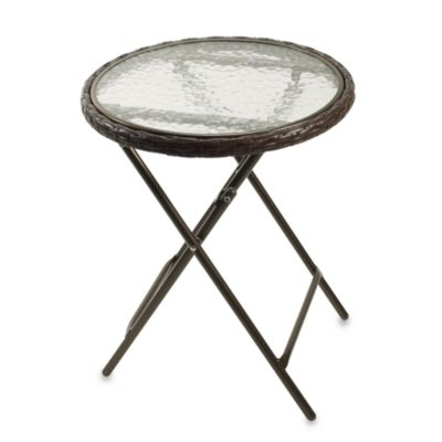 Wicker Folding Accent Table in Bronze