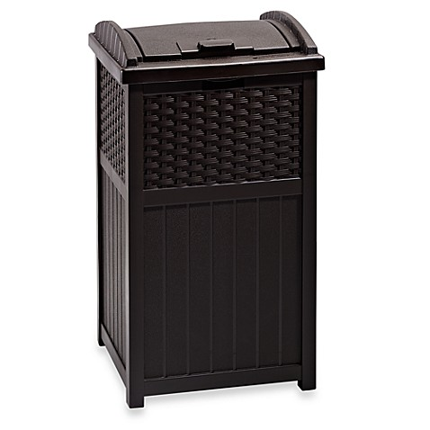 Resin Wicker Trash Hideaway Outdoor Can
