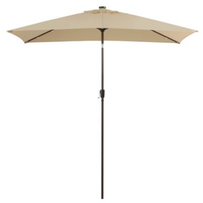 11-Foot Rectangular Aluminum Solar Patio Umbrella in Natural