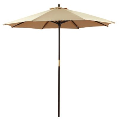 9-Foot Round Hardwood Umbrella in Natural