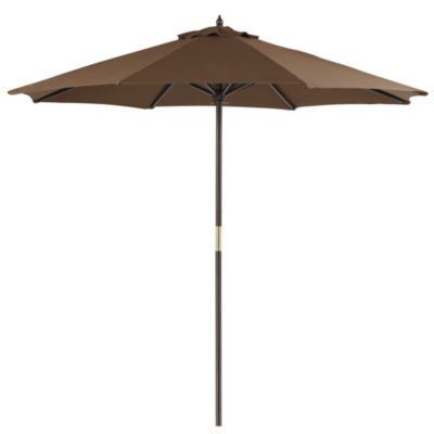 9-Foot Round Wood Market Umbrella in Chocolate