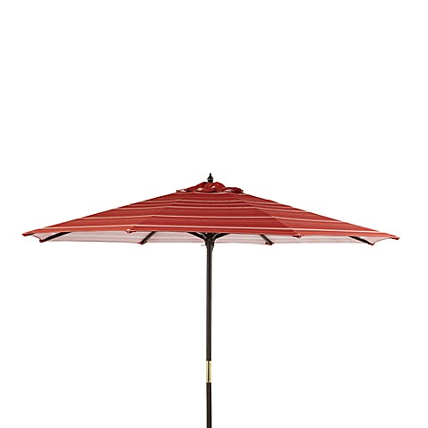 9-Foot Round Wood Market Umbrella in Salsa Stripe