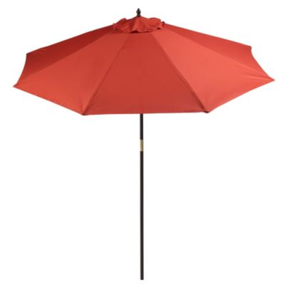 9-Foot Round Wood Market Umbrella in Salsa