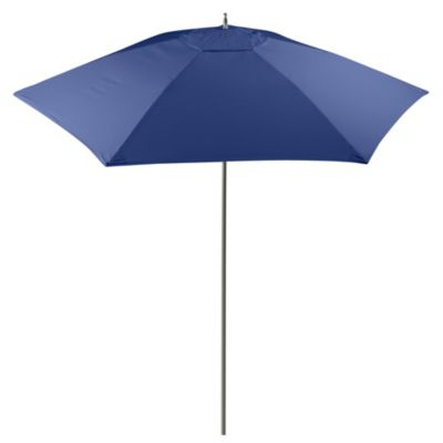 9-Foot Round Wood Market Umbrella in Blue