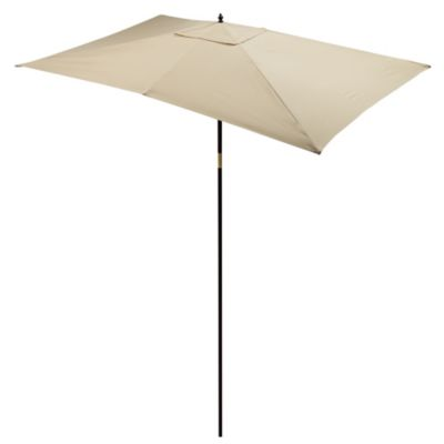 9.5-Foot Rectangular Hardwood Umbrella in Natural