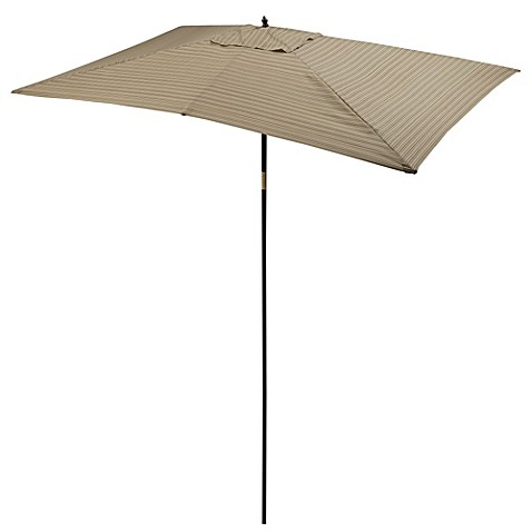 9 1/2-Foot Rectangular Wood Umbrella in Sarasota Stripe