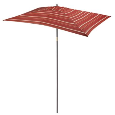 9 1/2-Foot Rectangular Wood Umbrella in Salsa Stripe