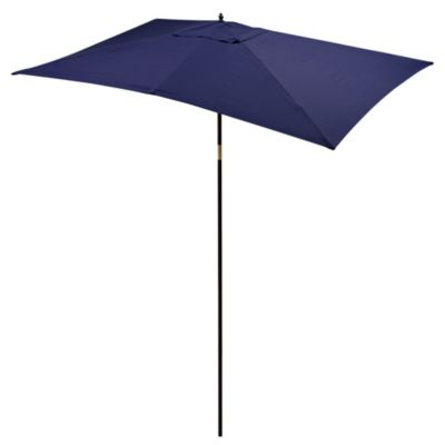 9 1/2-Foot Rectangular Wood Umbrella in Blue
