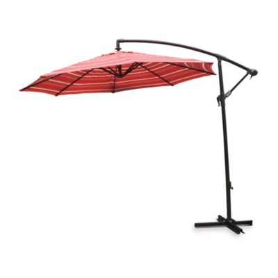9-Foot Round Offset Umbrella in Salsa Stripe