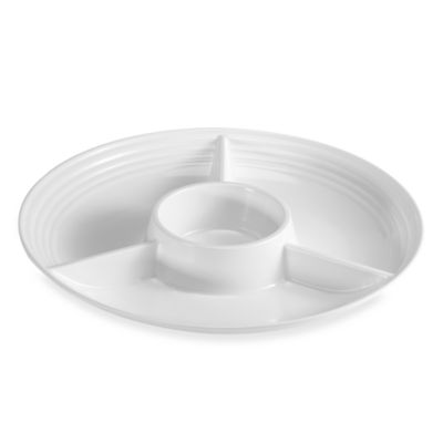 White Ribbed 15-Inch Chip & Dip Tray