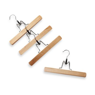 Natural Wood 10.9-Inch Trouser Hangers with Clamps (Set of 4)