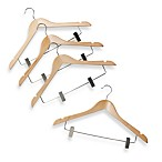 Natural Wood 17-Inch Suit Hangers with Clamps (Set of 4)