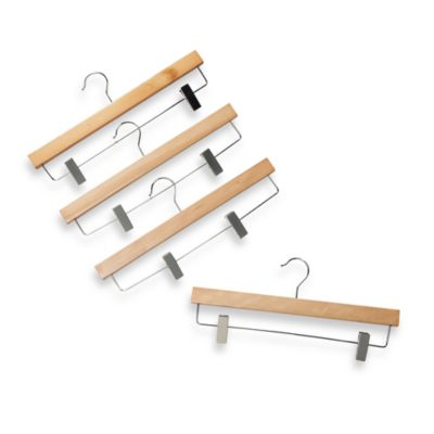 Natural Wood 11-Inch Skirt Hangers with Clamps (Set of 4)