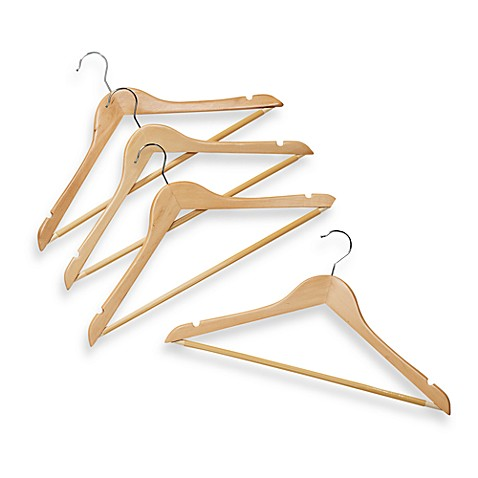 Natural Wood 17-Inch Suit Hangers with Bar (Set of 4)