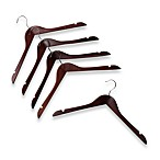 17-Inch Shirt Hangers in Red Mahogany Wood (Set of 5)