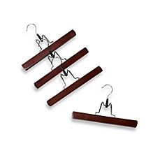 11-Inch Trouser Hangers with Clamps in Red Mahogany Wood (Set of 4)