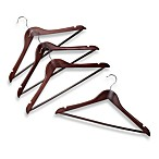 17-Inch Suit Hangers with Bar in Red Mahogany Wood (Set of 4)