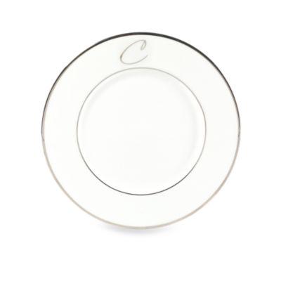 """Mikasa® Color Studio Platinum Monogrammed """"C"""" Accent Plate"""