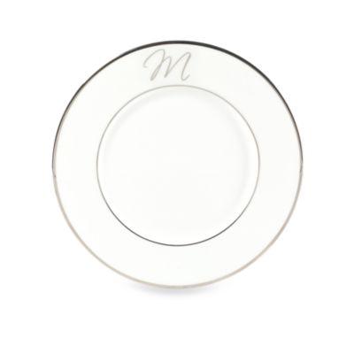 """Mikasa® Color Studio Platinum Monogrammed """"M"""" Accent Plate"""