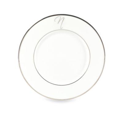 "Mikasa® Color Studio Platinum Monogrammed ""N"" Accent Plate"