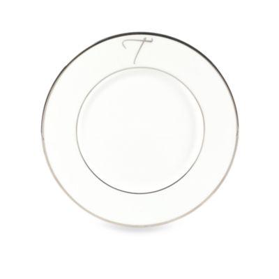 "Mikasa® Color Studio Platinum Monogrammed ""T"" Accent Plate"