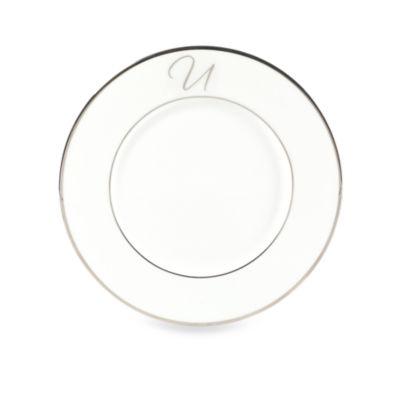 """Mikasa® Color Studio Platinum Monogrammed """"U"""" Accent Plate"""