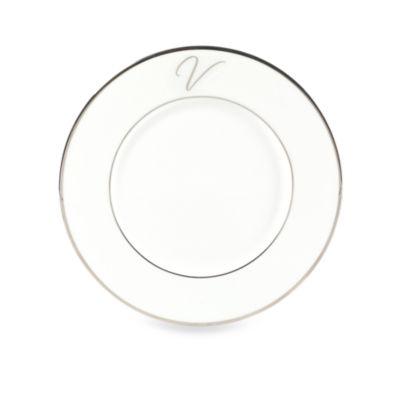 "Mikasa® Color Studio Platinum Monogrammed ""V"" Accent Plate"