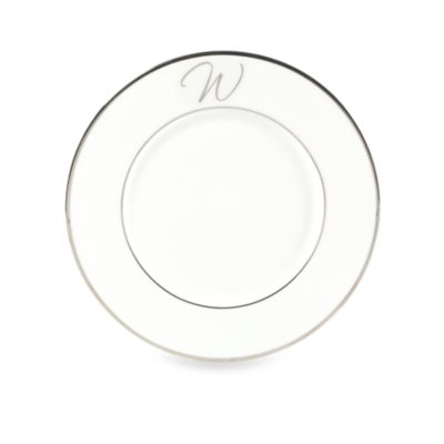 "Mikasa® Color Studio Platinum Monogrammed ""W"" Accent Plate"