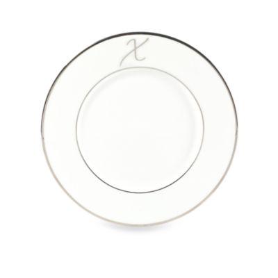 "Mikasa® Color Studio Platinum Monogrammed ""X"" Accent Plate"