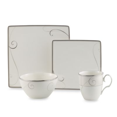 Noritake® Platinum Wave Square 4-Piece Dinnerware Place Setting