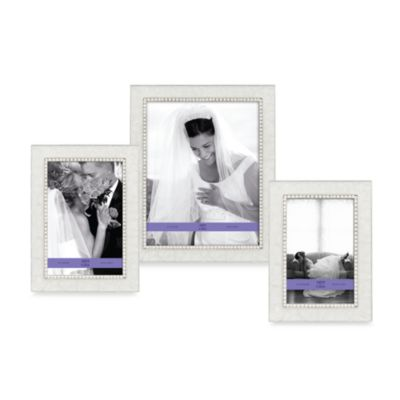 Arte de Casa 5-Inch x 7-Inch Pearlized Frame with Crystals in White
