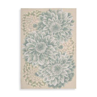 Nourison Fantasy Green Chrysanthemum Rug