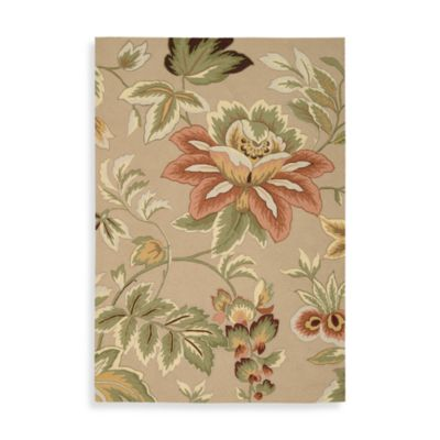 Nourison Fantasy Floral 2-Foot 6-Inch x 4-Foot Area Rug in Beige