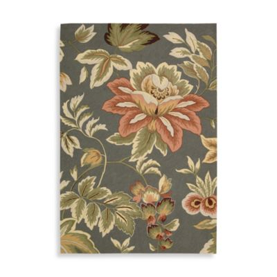 Nourison Fantasy Grey Floral 2-Foot 3-Inch x 8-Foot Runner