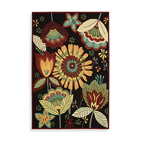 Nourison Fantasy Floral Rug in Black