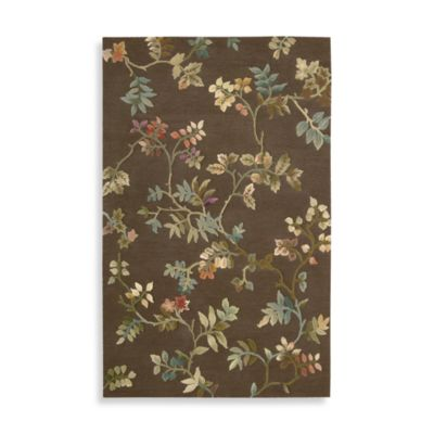 Nourison Fantasy Botanical 3-Foot 6-Inch x 5-Foot 6-Inch Room Size Rug in Brown