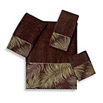 Avanti Tropical Leaves Fingertip Towel in Mocha
